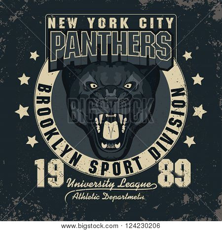 Panther Sport t-shirt graphics, Vintage Athletic Apparel typography, Artwork stamp print design, head of wild big cat . Aggressive wild-cat with bared teeth in cartoon style