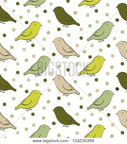 Bright green seamless pattern with birds in neutral colors
