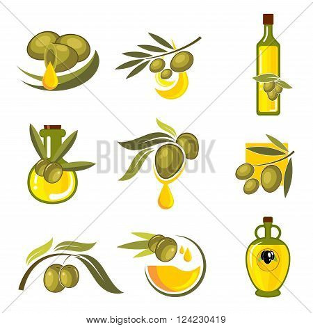Fresh green and black olive fruits icons with dripping golden drops of oil and glass bottles filled with healthy organic extra virgin olive oil