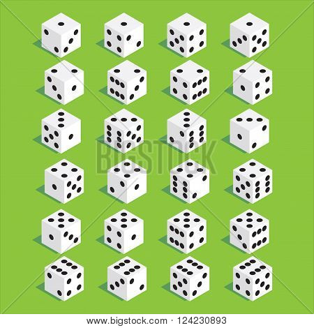 A set of dice. Isometric dice. Twenty-four variants loss dice. Vector illustration.