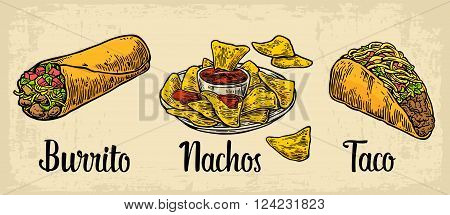 Mexican traditional food set with text message burrito tacos chili tomato nachos. Vector vintage engraved illustration for menu poster web. Isolated on beige background