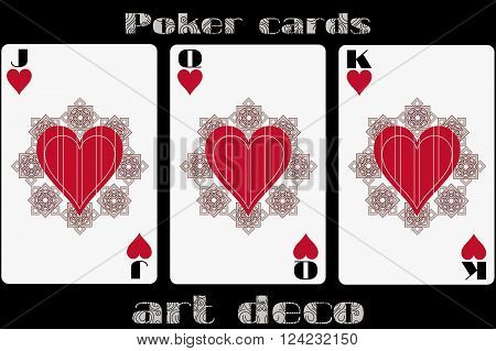 Poker Playing Card. Jack Heart. Queen Heart. King Heart. Poker Cards In The Art Deco Style. Standard