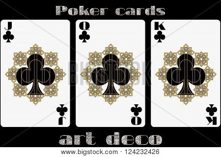 Poker Playing Card. Jack Clubs. Queen Clubs. King Clubs. Poker Cards In The Art Deco Style. Standard