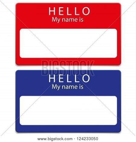 Blue and red blank name tags isolated on white background