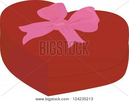 Red heart shape box with cap isolated on white background with pink bow