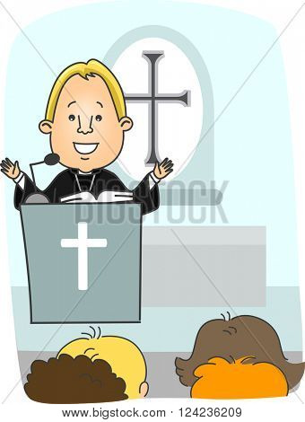 Illustration of a Protestant Priest Preaching from the Pulpit
