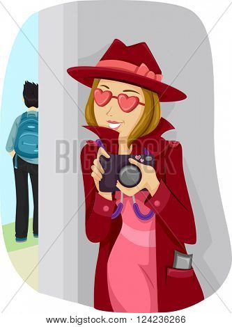 Illustration of a Lovestruck Teenage Girl Stalking Her Crush