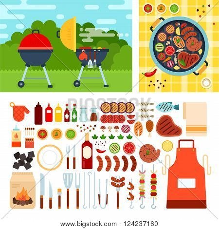 Grill set vector flat illustrations. Grill on the meadow on summer day. Weekend and relax concept. Meat, sausages, bottles with sauces and other grill tools isolated on white background