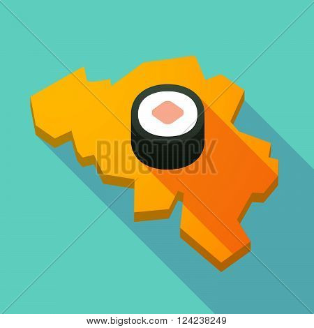 Long Shadow Map Of Belgium With A Piece Of Sushi Maki