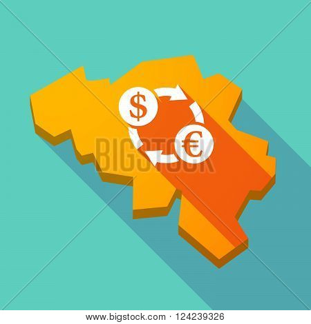 Long Shadow Map Of Belgium With A Dollar Euro Exchange Sign