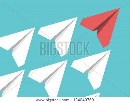 White and red paper planes flying in turquoise blue sky. Leadership success teamwork management boss motivation and business concept. EPS 8 vector illustration no transparency