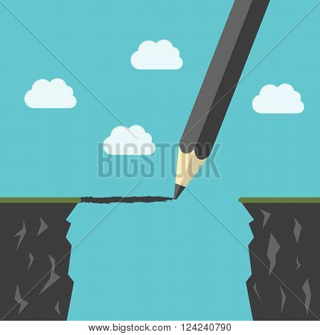 Pencil drawing a bridge above abyss between cliffs. Conquering adversity business success bridging the gap concept. EPS 8 vector illustration no transparency
