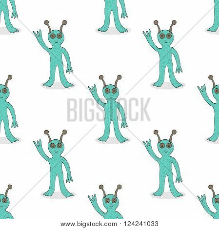 Cute smiling happy alien waving hand seamless pattern. Hand drawn design. Space ufo concept. Textile wrapping use. EPS 8 vector illustration no transparency