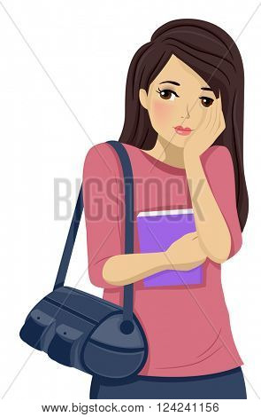 Illustration of a Shy Teenage Girl Blushing