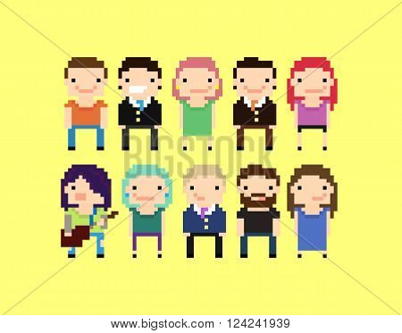 Set pixel art cartoon characters with office people guy with guitar bearded guy and other people