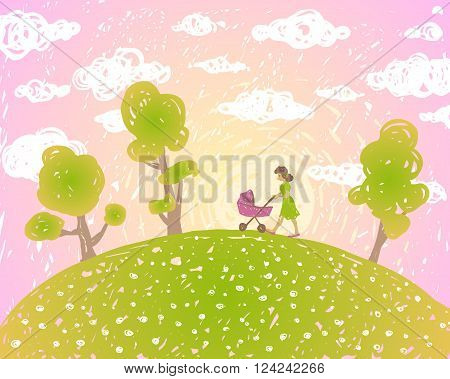 Vector illustration. Summer sunset landscape with clouds. Mum walks with the pram.