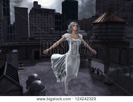3D illustration of a sleepwalking woman on a big city rooftop during a full moon.