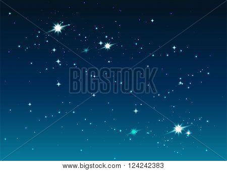 Night starry sky. Stars and space. Illustration in vector format