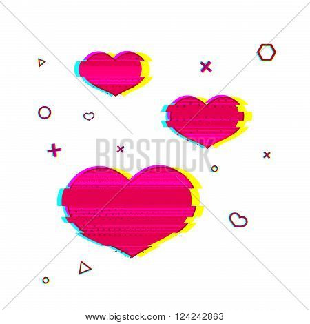 Glitch romantic heart symbol. Pink heart symbol with noise texture. Romantic icon glitch style pink color. Pink heart for web banners, postcards, shares in the Glitch style. Vector illustration