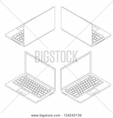 Isometric set of laptops. Linear computers. Modern electronic system. Portable personal computer. The display keyboard and touchpad. Vector illustration.