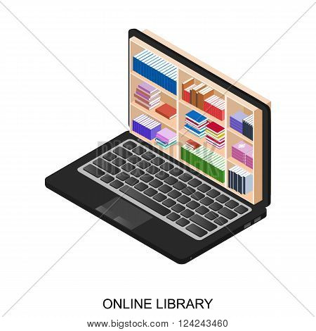 Online library. Black laptop with bookshelves. The laptop of the student. Education and science. Collection of electronic documents and book. E-book E-education and E-knowledge. Vector illustration.
