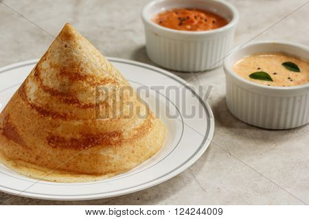 Cone shape Dosa with chutney south Indian breakfast