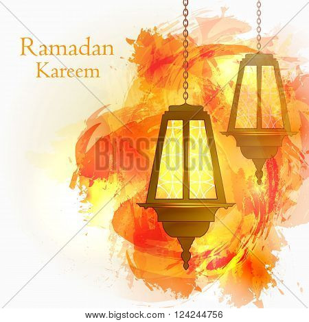 Ramadan Kareem. The month of Ramadan. Muslim post. Islamic holiday. Burning lights on the chain. Orange watercolor background. Vector illustration.