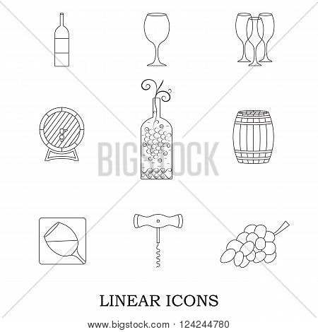 Set of linear icons. A bunch of grapes and an oak barrel for wine. Bottle of alcohol and glasses. Logo for your design. Vector illustration.