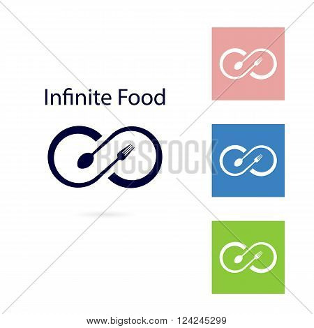 Food and infinity icon.Fork and spoon sign.Business or food and drink concept.Vector illustration.