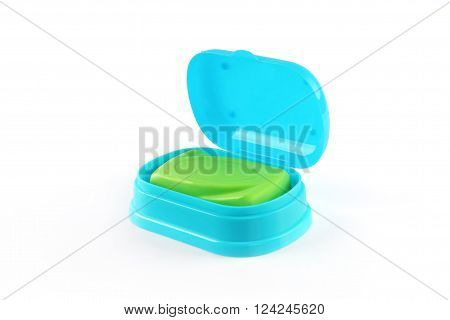 Soap with Plastic Box Isolated on White