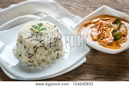 Thai Panang Curry With Bowl Of White And Wild Rice