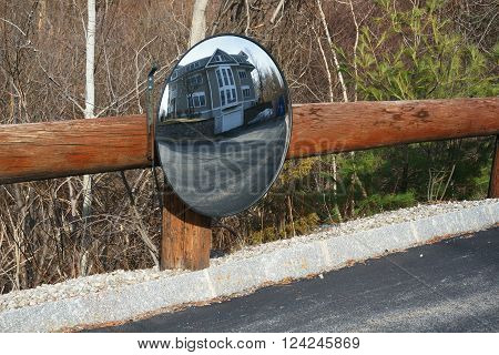 refection mirror at driveway turning corner for safety