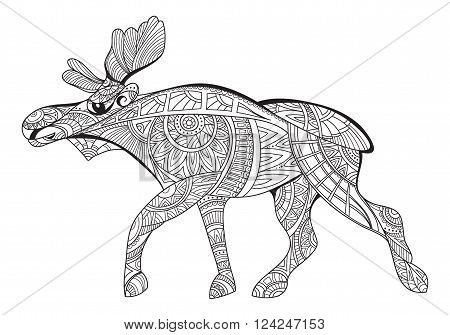Elk. Decorative elk. Black and white drawing elk pattern. Coloring page for adults, antistress. Ethnic patterned vector. Art therapy for adults. Doodle and zentangle. Vector