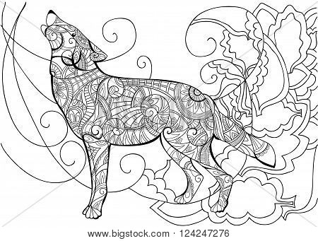 Wolf. Animal. Coloring with a wolf. Wolf coloring coloring book for adults vector illustration. Anti-stress coloring for adult. Zentangle style. Black and white lines. Lace pattern. Vector