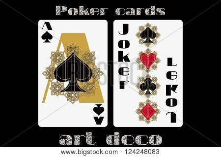 Poker Playing Card. Ace Spade. Joker. Poker Cards In The Art Deco Style. Standard Size Card.