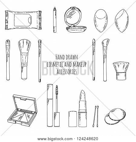 Makeup kit in doodle style. Hand drawn cosmetics makeup and makeup accessories. Linear style cosmetics makeup. Makeup brushes set. Vector illustration