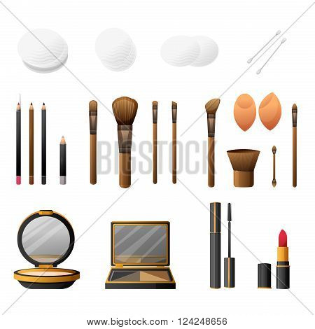 Makeup kit in cartoon flat style. Elegance cosmetics makeup and makeup accessories. Glamorous make up and accessories. Makeup powder and makeup brushes. Vector illustration