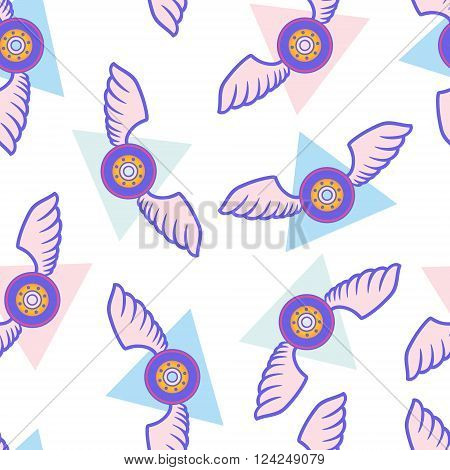 Skateboard wheel with wings on triangles seamless pattern