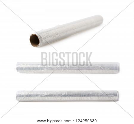 Food protecting film on a roll isolated over the white background, set of three different foreshortenings