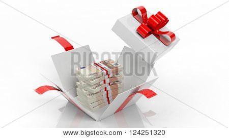 50 euro banknotes stacks in opened giftbox with red ribbon, isolated on white background, 3d rendering
