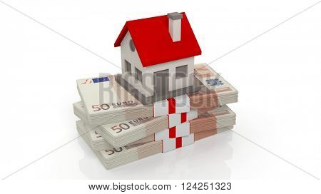 House set on Euro banknotes of 50 in stack, isolated on white background, 3d rendering