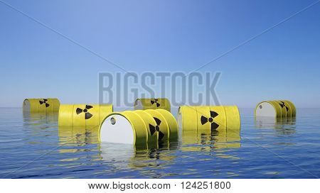 Yellow barrels for radioactive biohazard waste floating on sea surface, 3d rendering