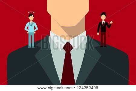 Businessman with angel and devil on his shoulders.