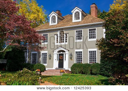 Suburban Maryland Single Family House Home Georgian Colonial Revival Autumn