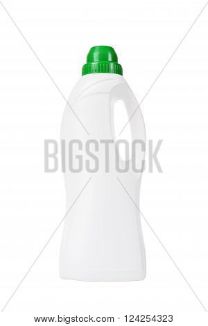 Softener In White Plastic Bottle Isolated