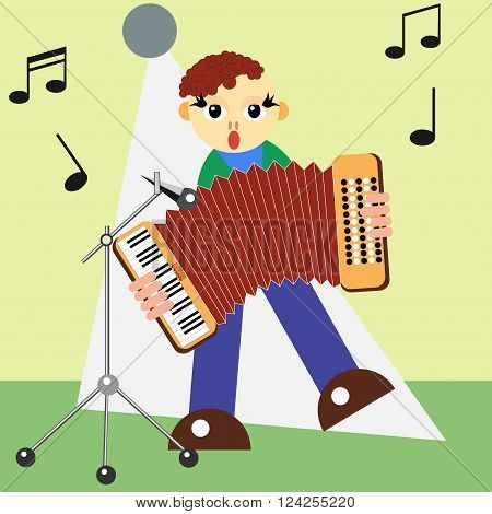 The man on the stage plays the accordeon