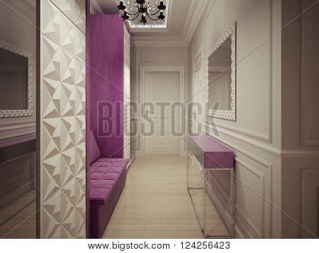 Luxury corridor design in private house. 3d render
