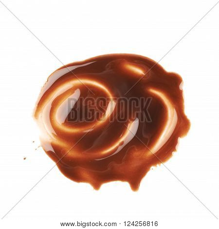 Hot chocolate's stain puddle isolated over the white background