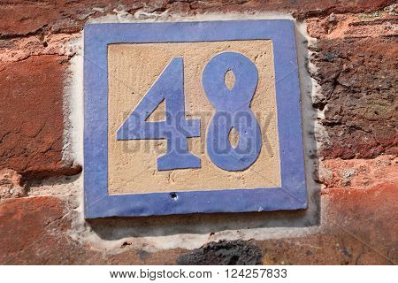 House number 48 in the city of Saint Cloud, France