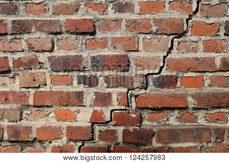 Close up of an old vintage red brick wall
